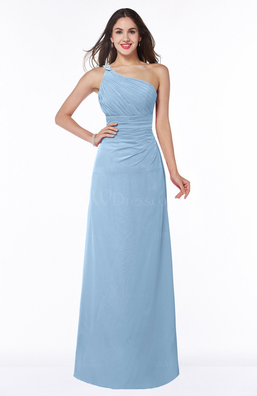 Sky Blue Modern One Shoulder Sleeveless Half Backless Chiffon ...