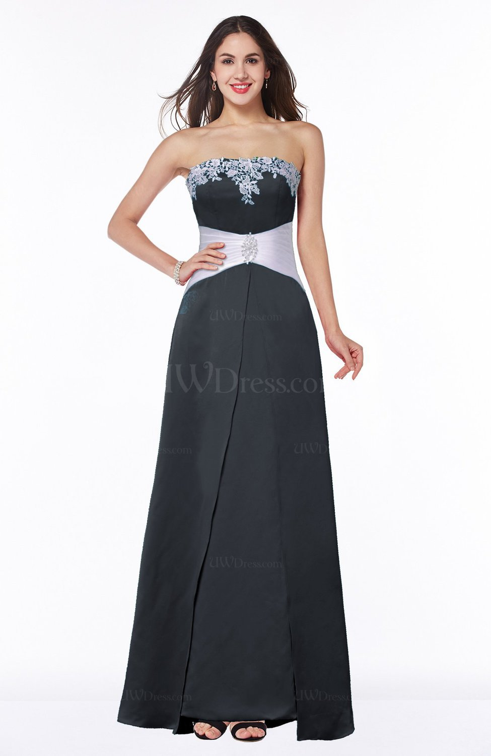 Black elegant a line strapless zipper satin sash plus size for Plus size silk wedding dresses