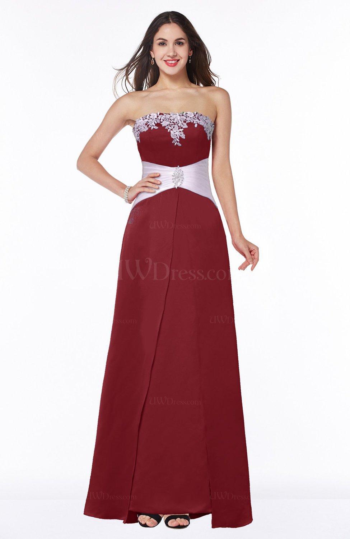 Dark red elegant a line strapless zipper satin sash plus size elegant a line strapless zipper satin sash plus size bridesmaid dresses ombrellifo Choice Image