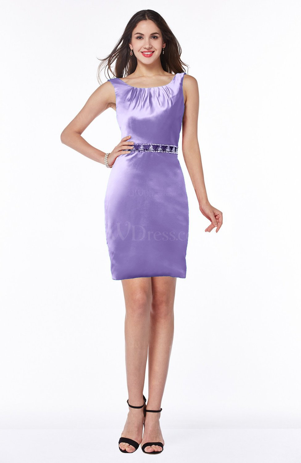 Lilac elegant sheath v neck zip up satin short plus size for Plus size wedding dresses size 32 and up