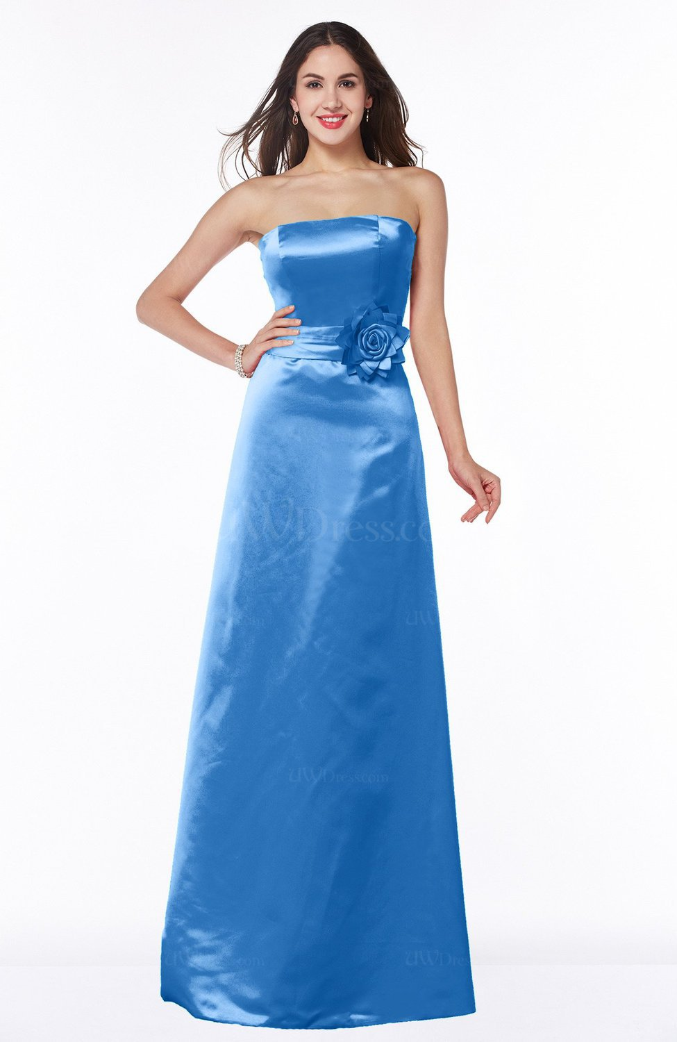 Royal blue modern strapless sleeveless zipper satin plus for Blue wedding dresses plus size