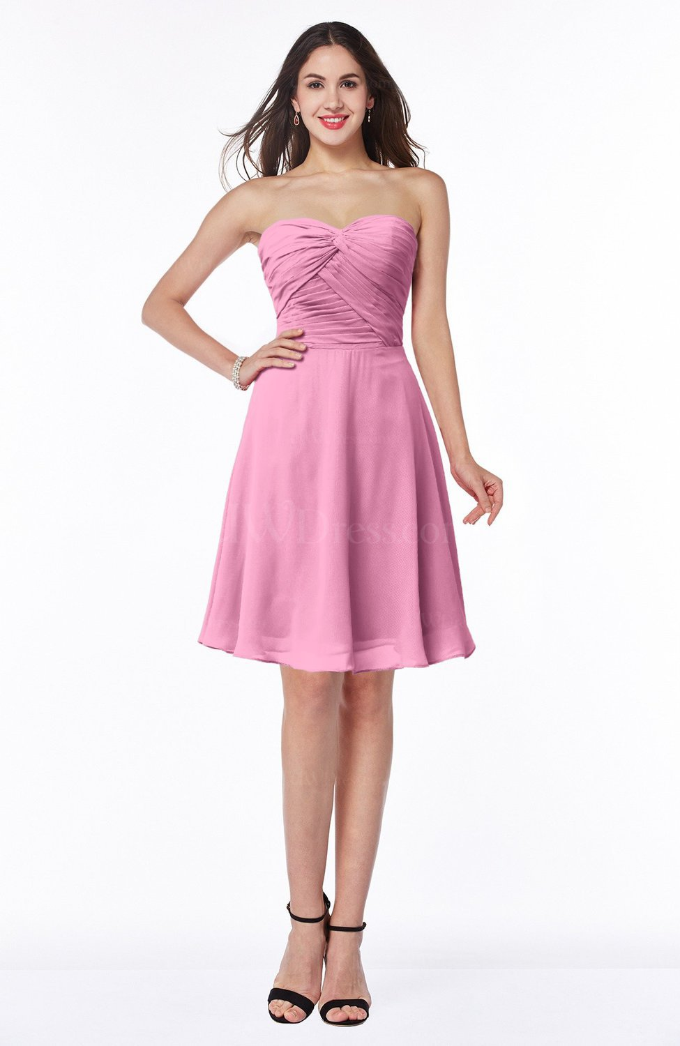 Pink Informal Wedding Dresses : Pink informal sleeveless chiffon short ruching plus size