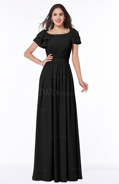 Black elegant scoop short sleeve zip up chiffon plus size for Elegant plus size wedding dresses