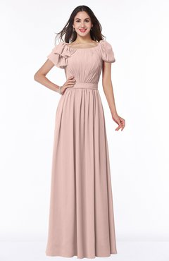 Dusty Rose Color Bridesmaid Dresses Short Sleeve Scoop Uwdresscom