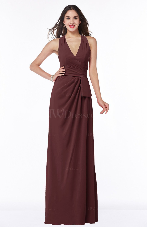 Burgundy classic halter sleeveless zip up chiffon floor for Burgundy wedding dresses plus size