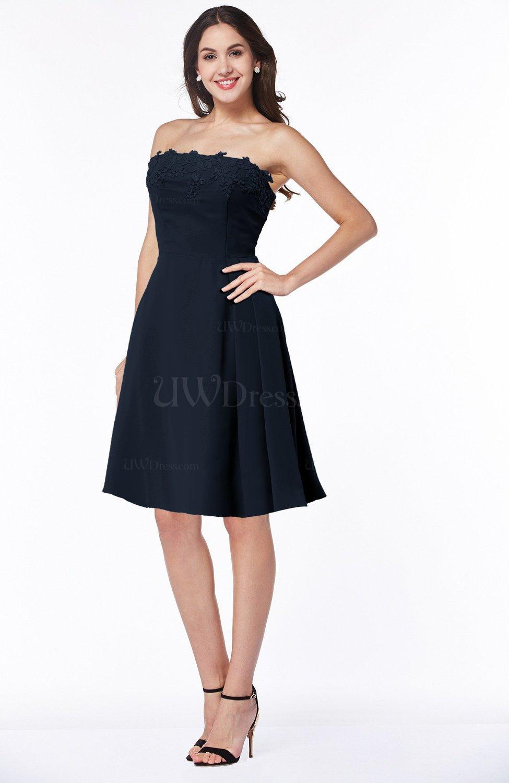 Navy blue glamorous a line strapless sleeveless half for Navy plus size dress for wedding