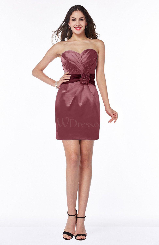 Burgundy Cute Strapless Satin Short Ribbon Plus Size ...