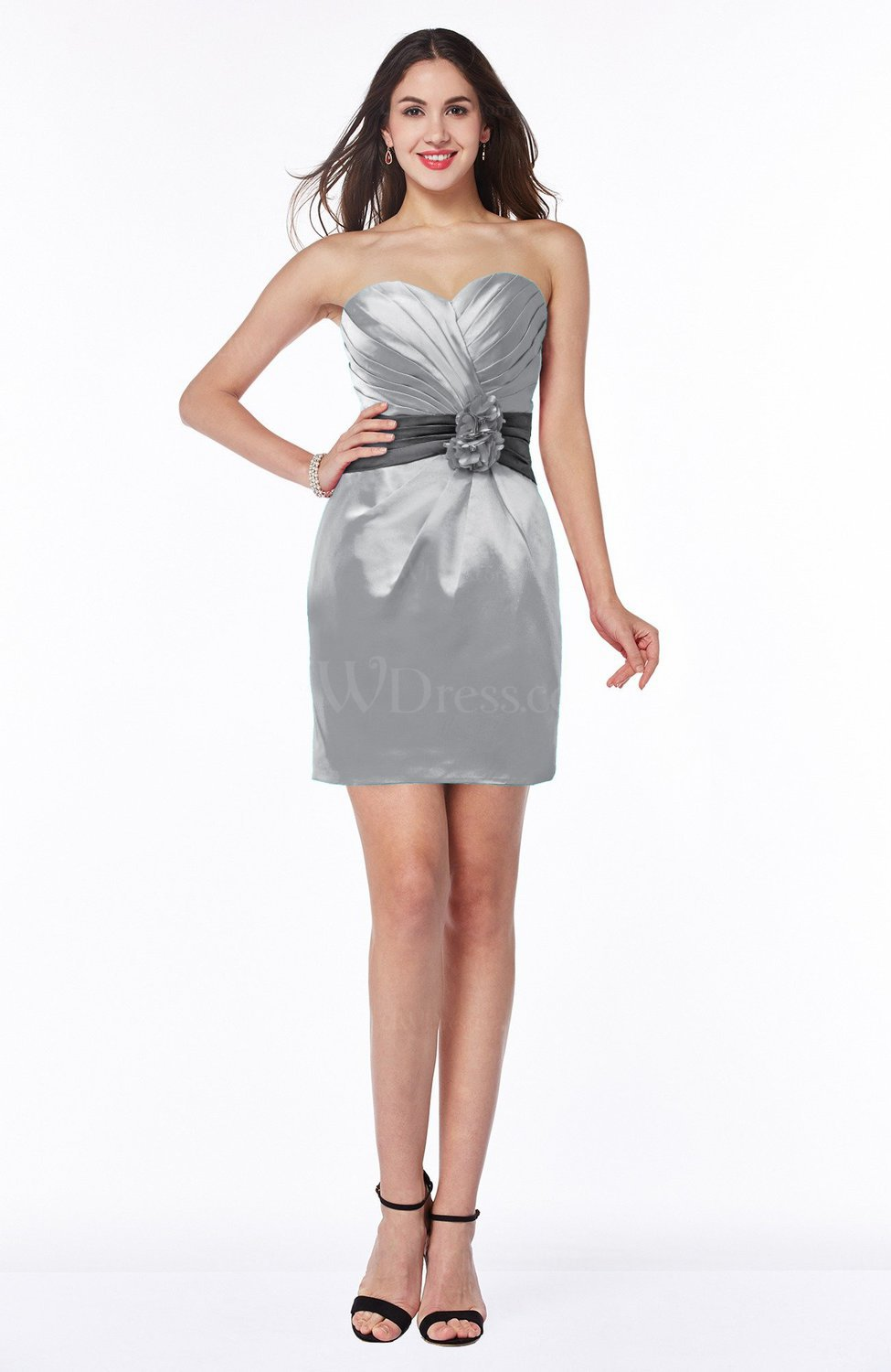 Frost grey cute strapless satin short ribbon plus size for Plus size silk wedding dresses