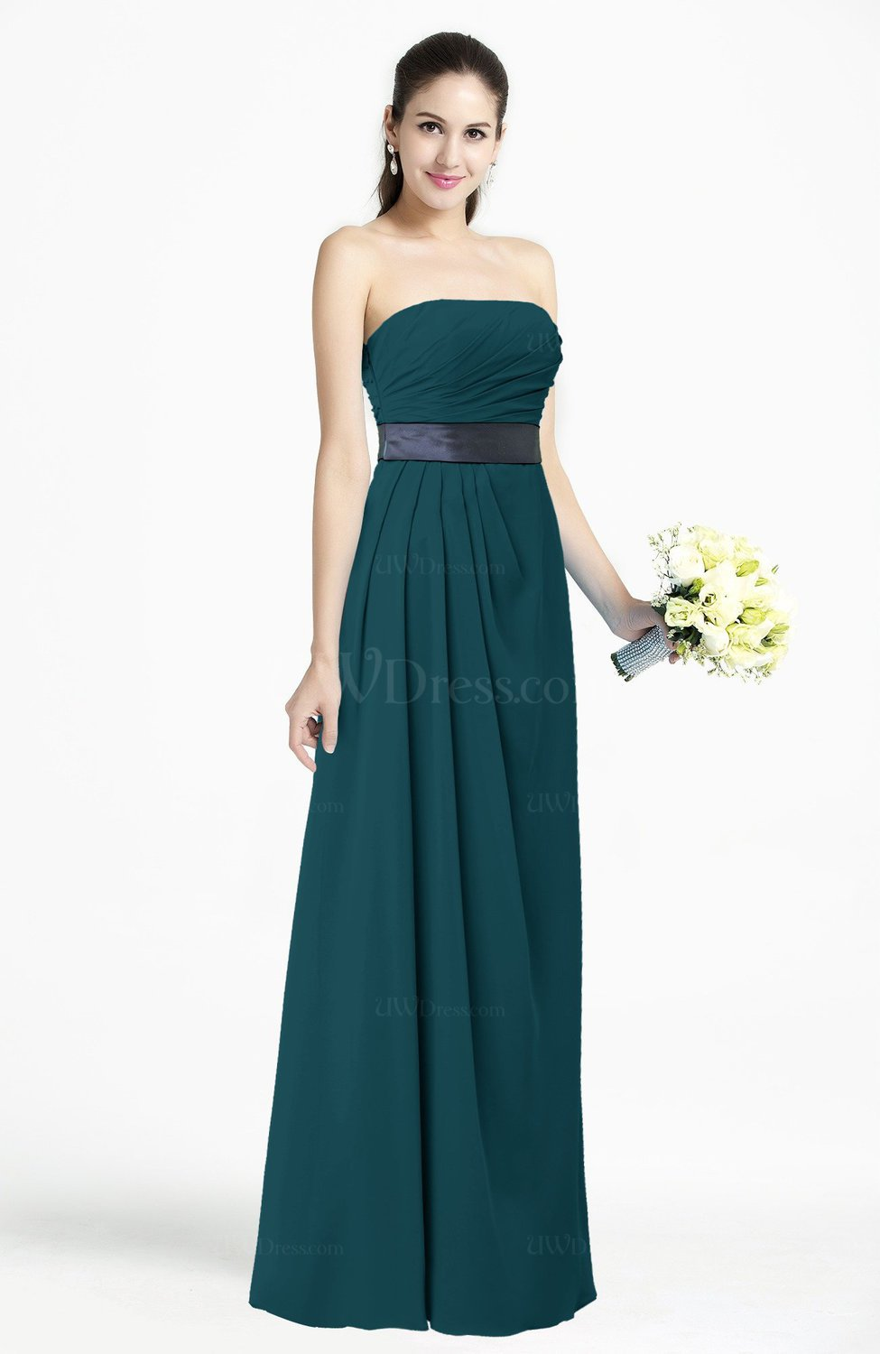 Blue green modern empire strapless sleeveless backless for Blue wedding dresses plus size