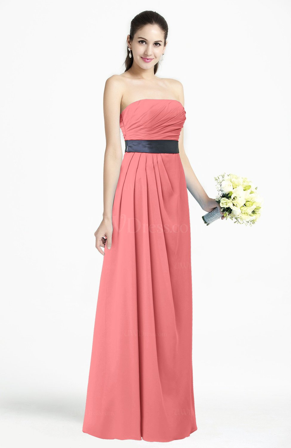 Coral modern empire strapless sleeveless backless floor for Plus size coral dress for wedding