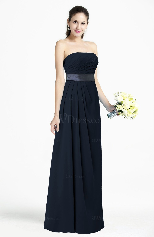 Navy blue modern empire strapless sleeveless backless for Navy plus size dress for wedding