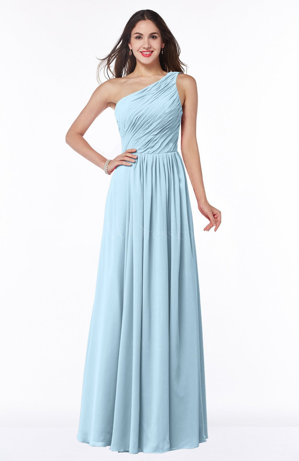 Ice Blue Elegant A-line Sleeveless Chiffon Floor Length Ruching Plus Size Bridesmaid Dresses