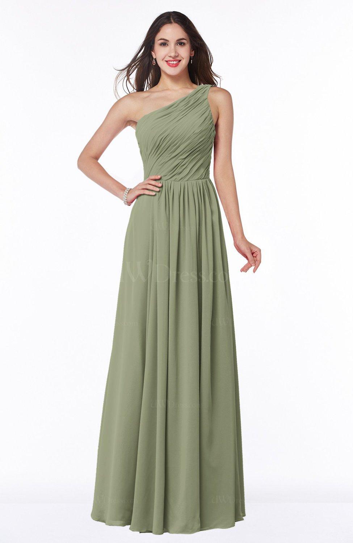 Moss Green Elegant A-line Sleeveless Chiffon Floor Length Ruching ...