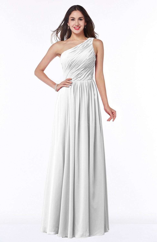 White elegant a line sleeveless chiffon floor length for Chiffon plus size wedding dresses