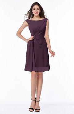 Plum Glamorous Bateau Half Backless Chiffon Knee Length Ruching Plus Size Bridesmaid Dresses