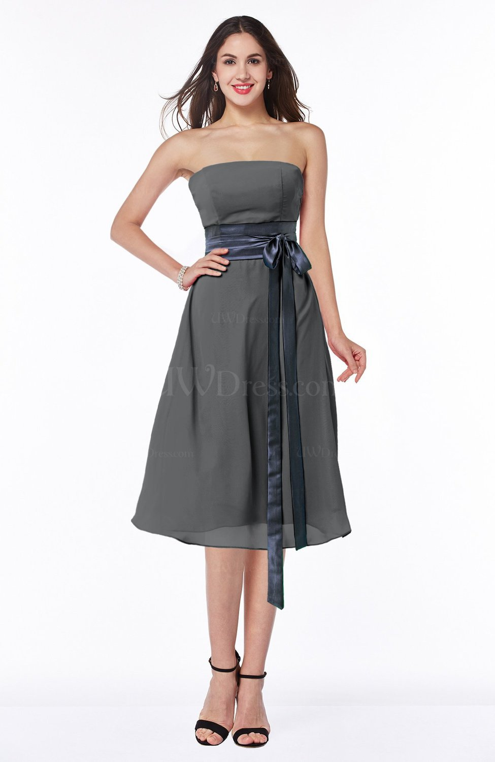 Grey romantic a line strapless sleeveless tea length plus for Silver tea length wedding dresses