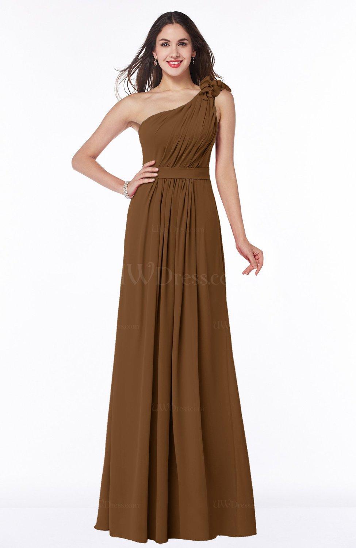 brown sexy one shoulder chiffon floor length sash plus