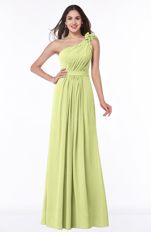 Lime green sexy one shoulder chiffon floor length sash for Chiffon plus size wedding dresses