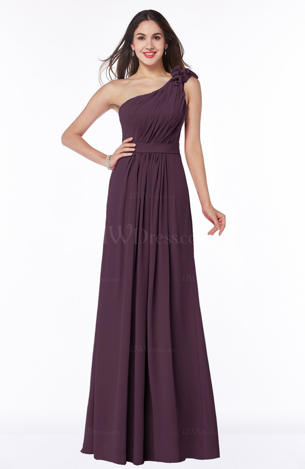 Plum Sexy One Shoulder Chiffon Floor Length Sash Plus Size ...