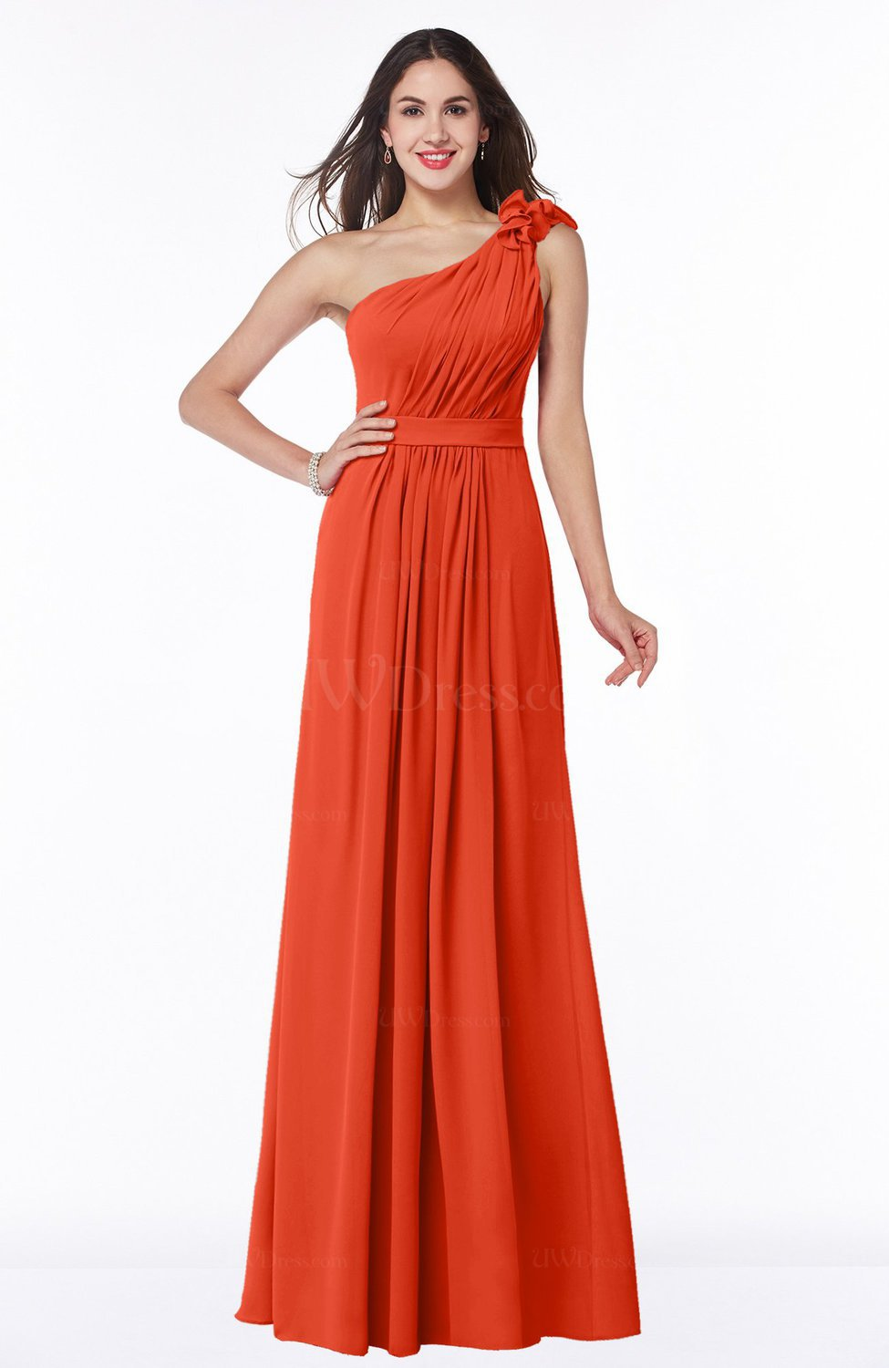 Tangerine tango sexy one shoulder chiffon floor length for Sexy plus size wedding dresses