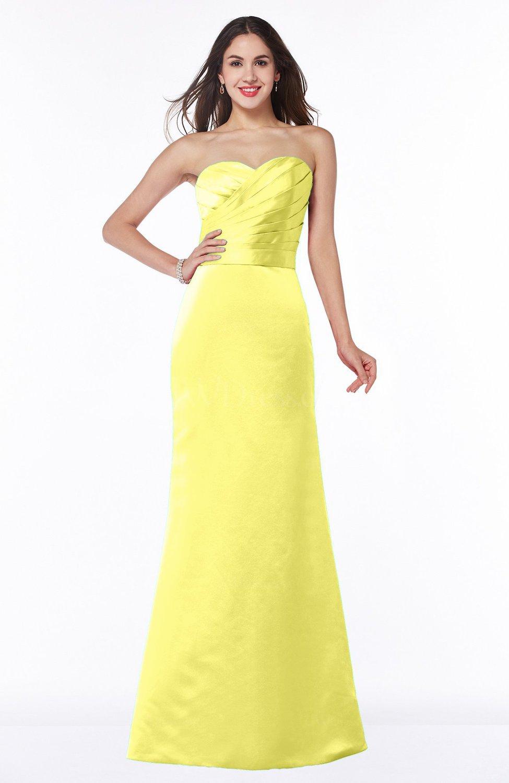 Pale Yellow Elegant Column Strapless Sleeveless Zipper