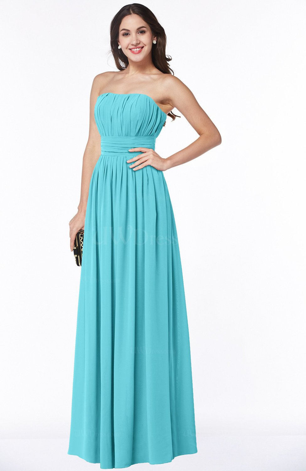 Turquoise Mature A-line Strapless Chiffon Floor Length Plus Size ...
