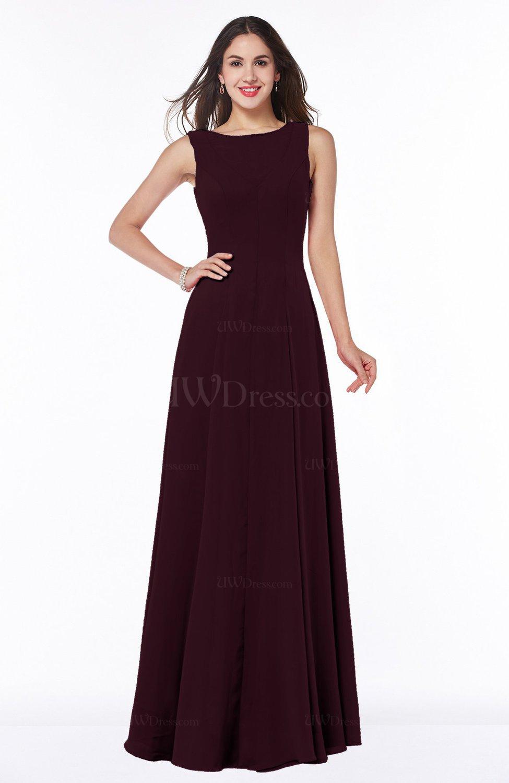 Burgundy classic a line bateau sleeveless zipper plus size for Burgundy wedding dresses plus size