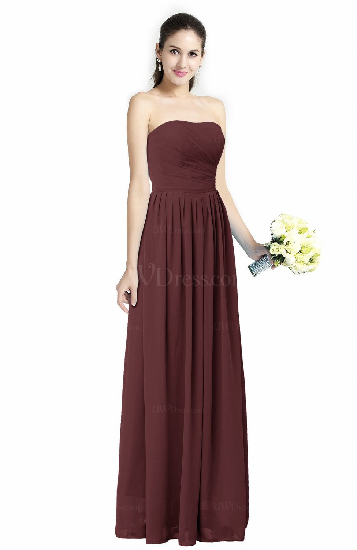 Burgundy modern a line strapless zipper floor length plus for Burgundy wedding dresses plus size