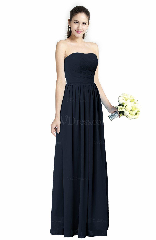 Navy blue modern a line strapless zipper floor length plus for Plus size blue wedding dresses