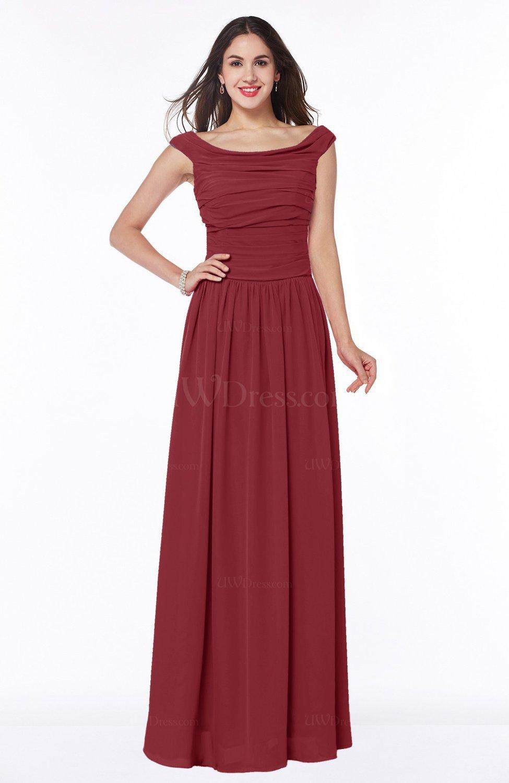 Dark red elegant a line scoop zip up chiffon floor length for Elegant plus size wedding dresses