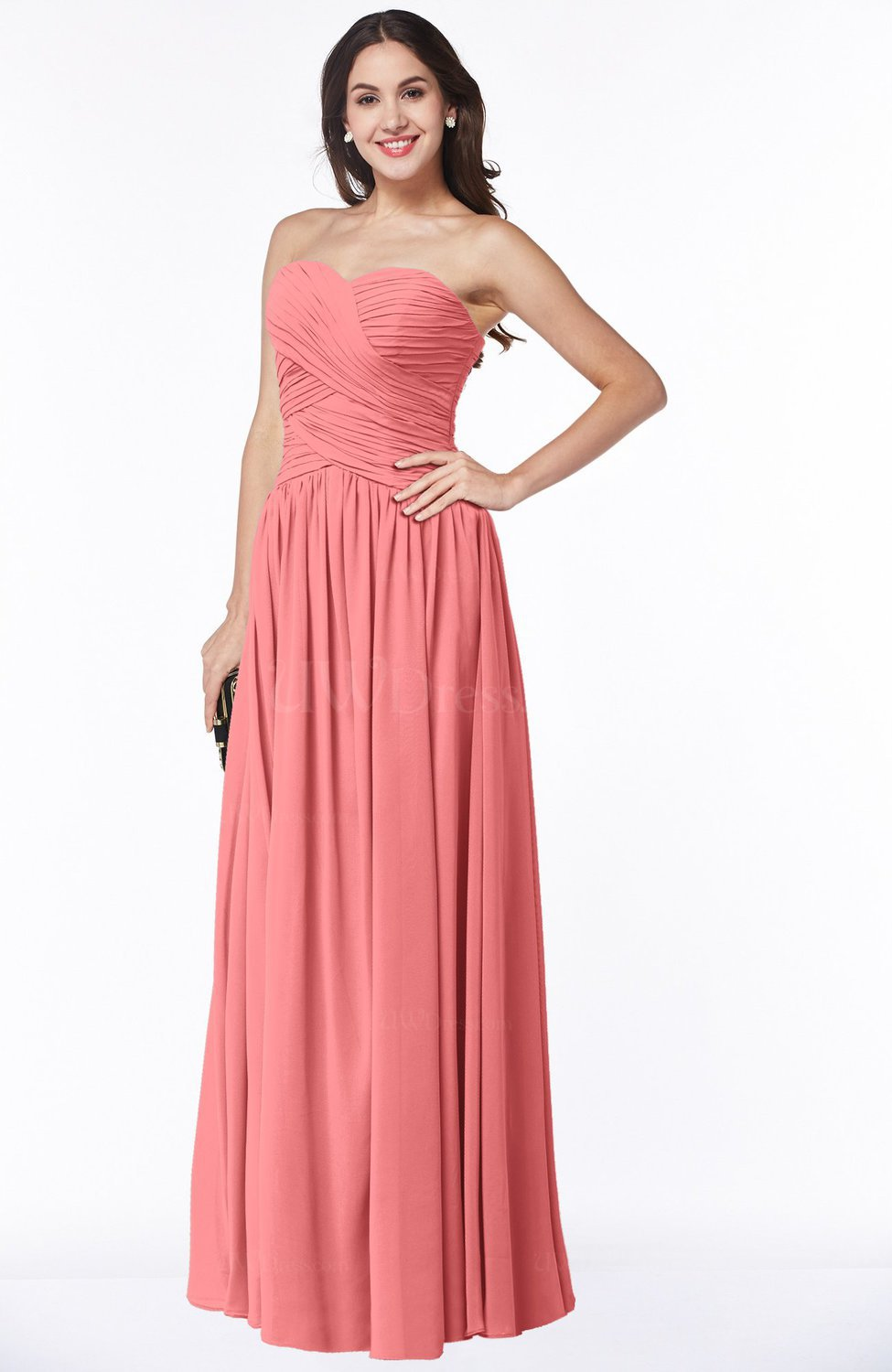 Coral Traditional A Line Sweetheart Sleeveless Floor Length Plus