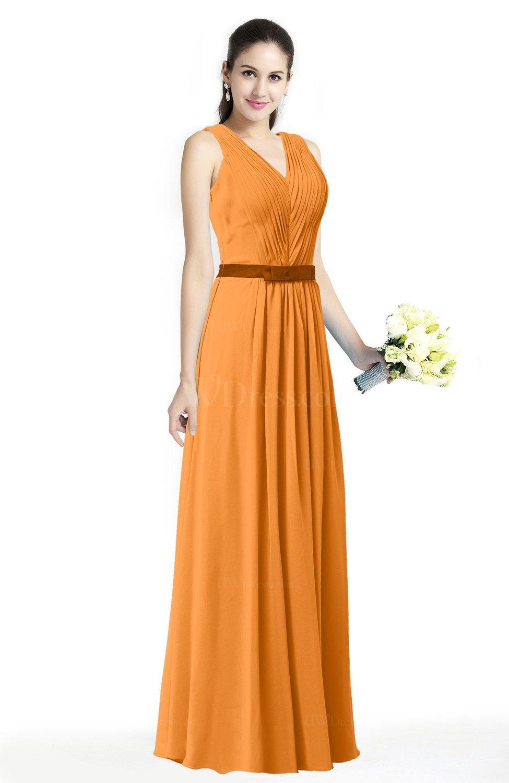 Orange Simple A Line V Neck Chiffon Floor Length Bow Plus