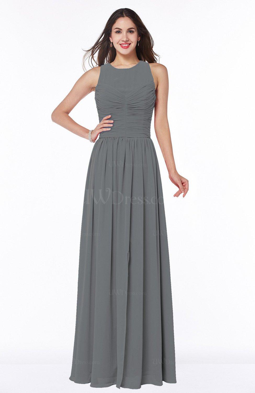 Grey elegant a line jewel chiffon floor length plus size for Elegant plus size wedding dresses