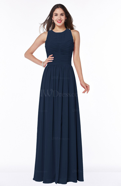 Navy blue elegant a line jewel chiffon floor length plus for Navy plus size dress for wedding