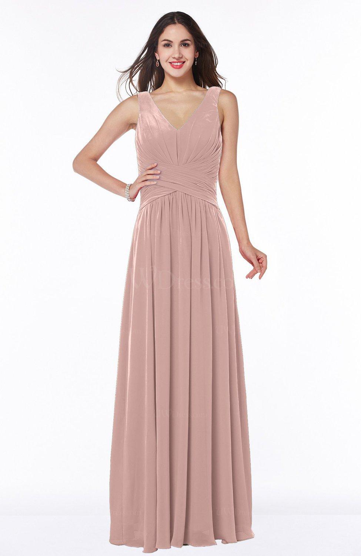 Dusty Rose Mature A-line V-neck Sleeveless Zip up Chiffon Plus Size ...