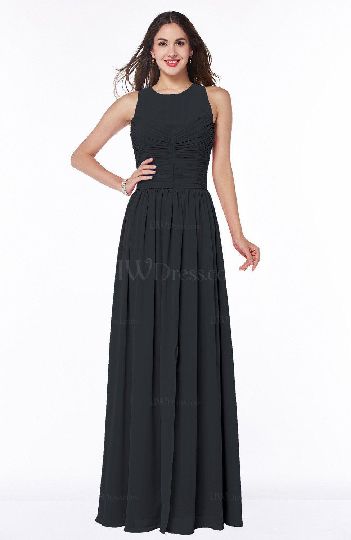 Black Elegant A-line Sleeveless Zipper Chiffon Plus Size Bridesmaid ...