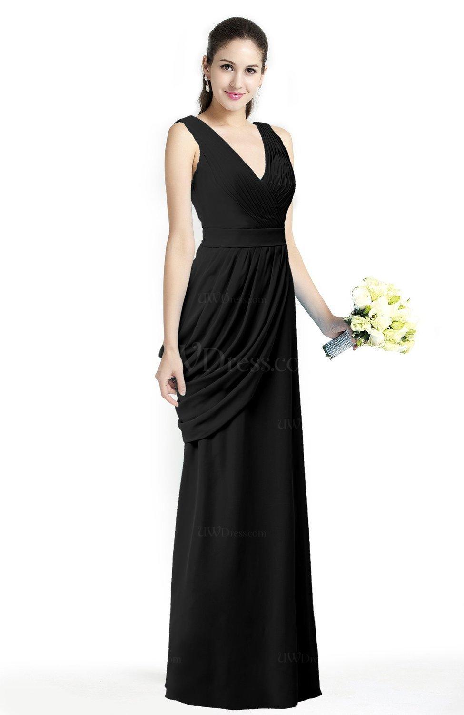 Black Mature A-line V-neck Chiffon Pleated Plus Size Bridesmaid ...