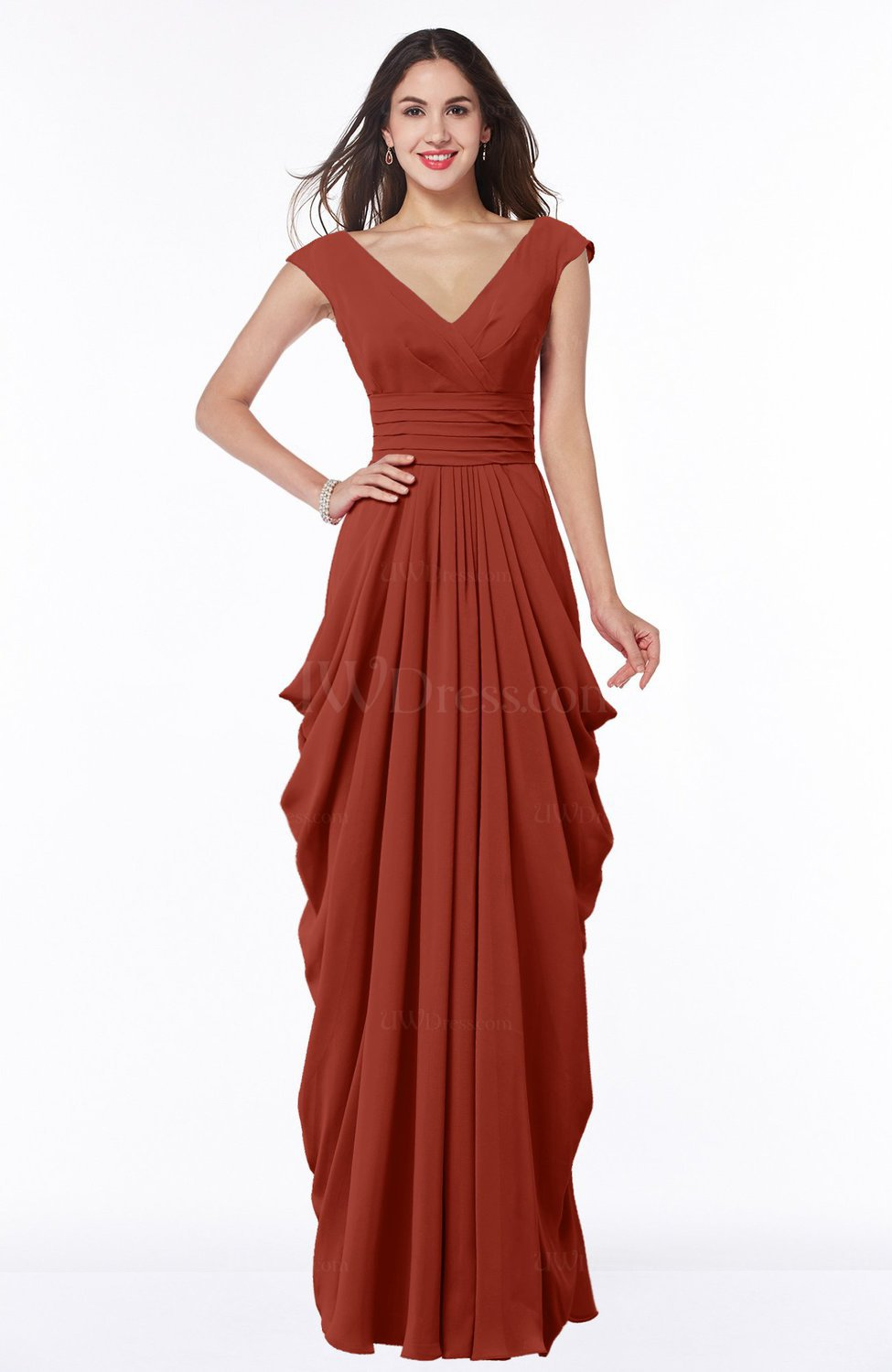 Rust mature short sleeve chiffon floor length pleated plus for Plus size wedding dresses with color and sleeves
