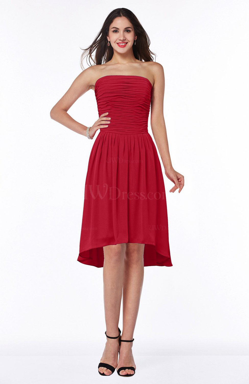 Red cute strapless sleeveless zipper chiffon hi lo plus for Chiffon plus size wedding dresses