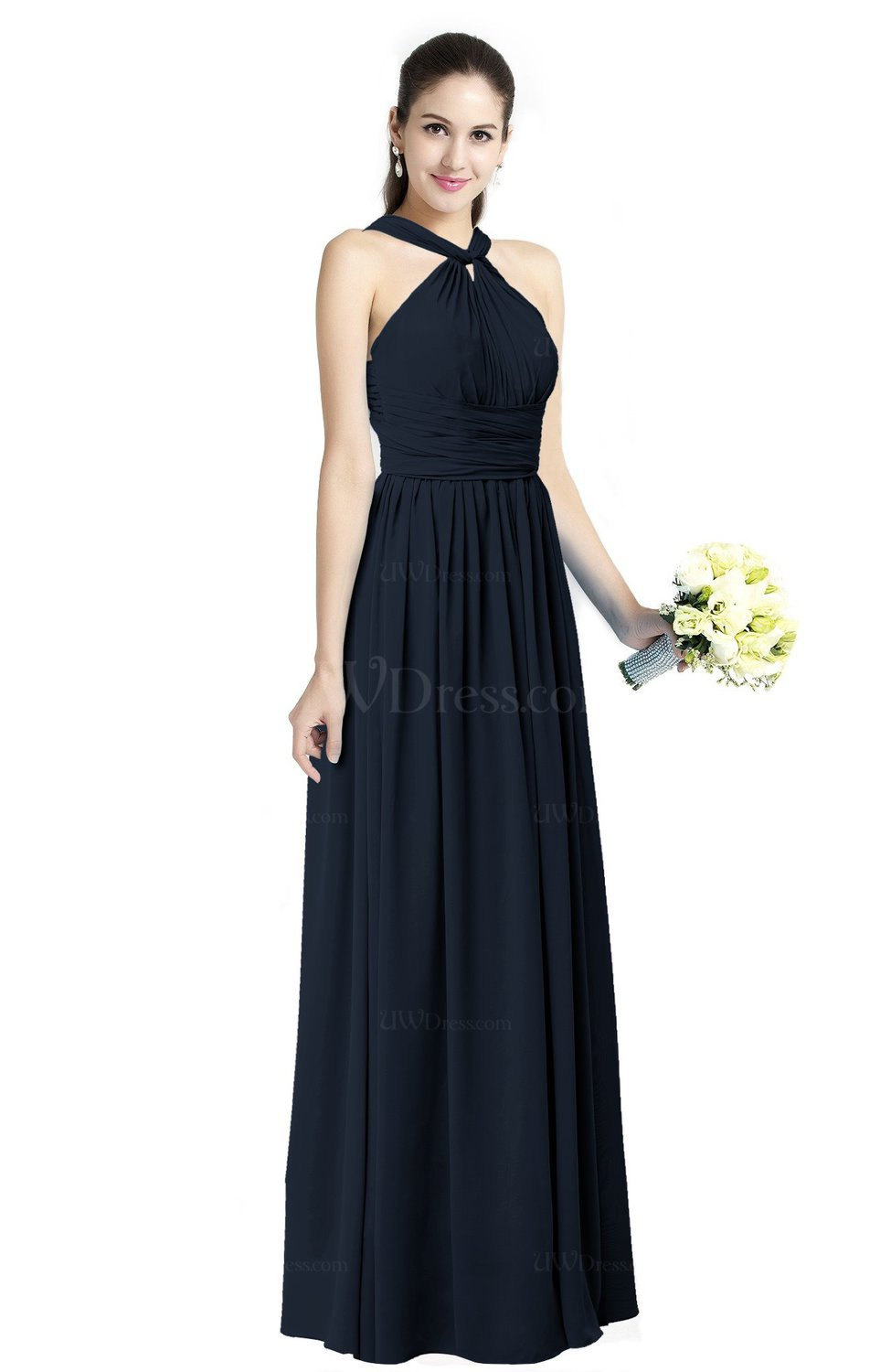 Navy Blue Traditional A Line Halter Criss Cross Straps Chiffon Bow