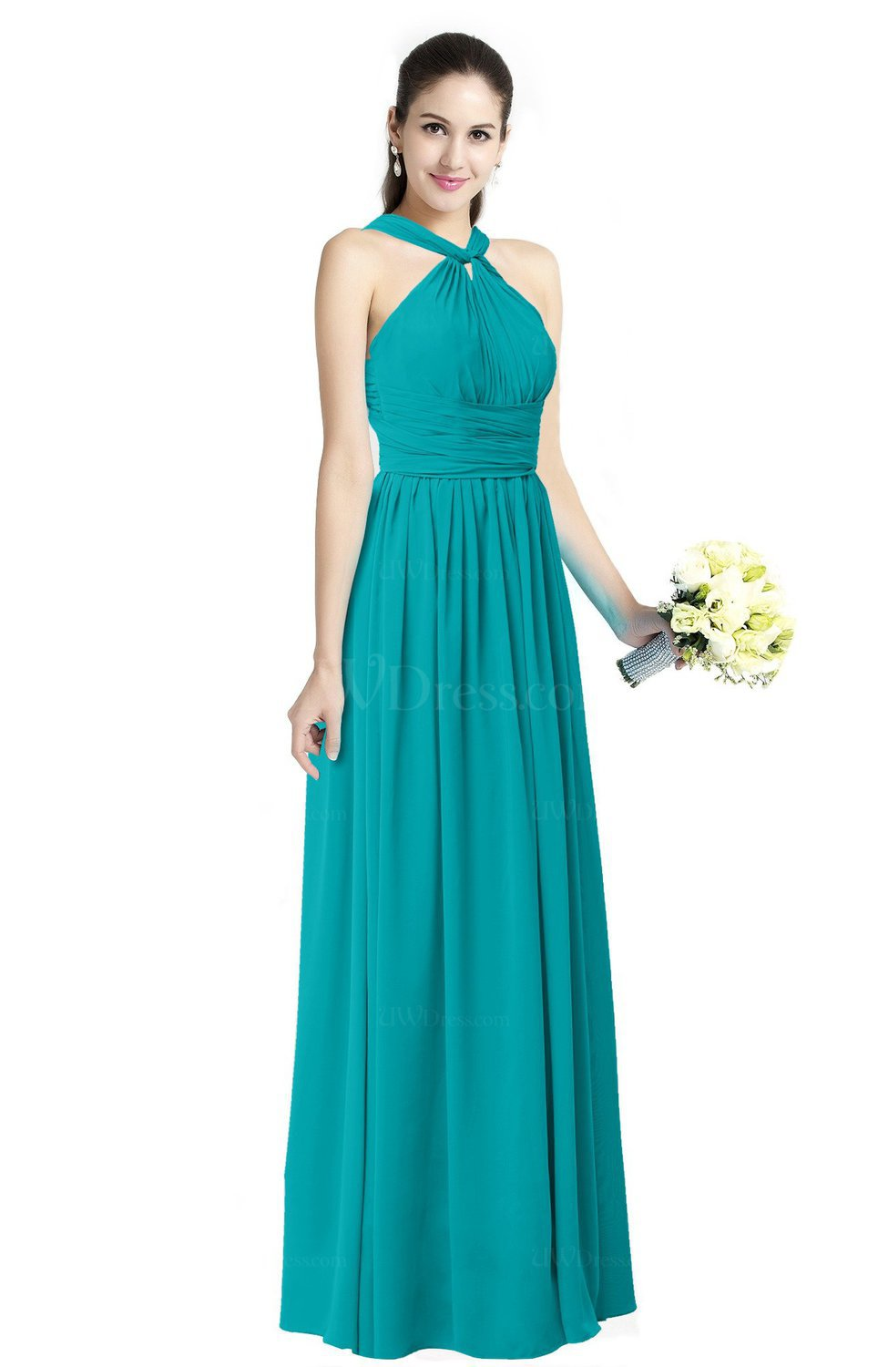 Teal Traditional A-line Halter Criss-cross Straps Chiffon Bow Plus ...