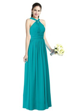 Teal Traditional A Line Halter Criss Cross Straps Chiffon Bow Plus Size Bridesmaid Dresses