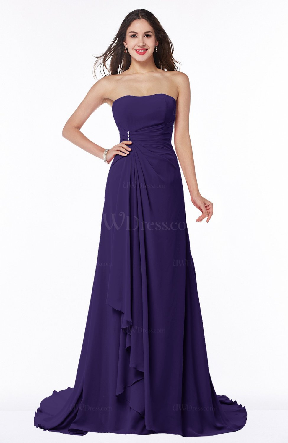 Royal Purple Vintage A-line Sleeveless Sweep Train Rhinestone Plus ...