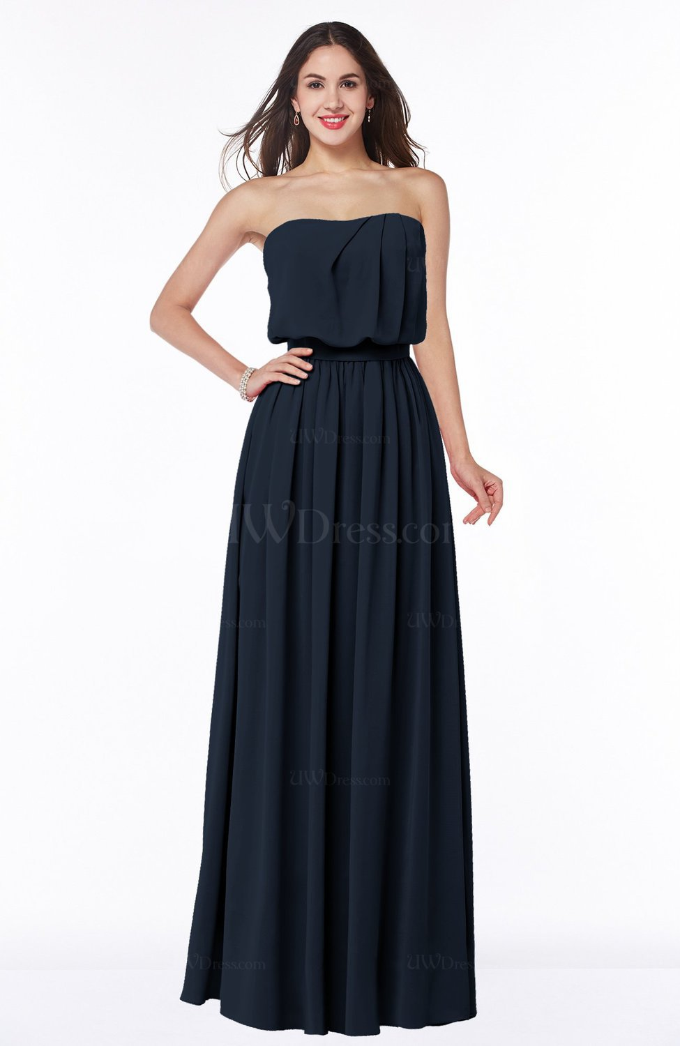 Navy blue romantic a line strapless half backless chiffon for Navy plus size dress for wedding