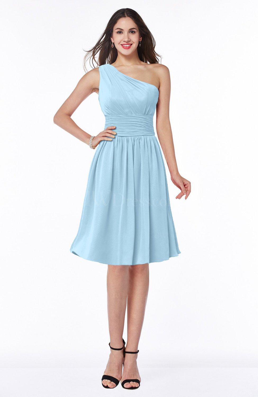 Ice Blue Cute A-line Sleeveless Chiffon Knee Length Plus ...
