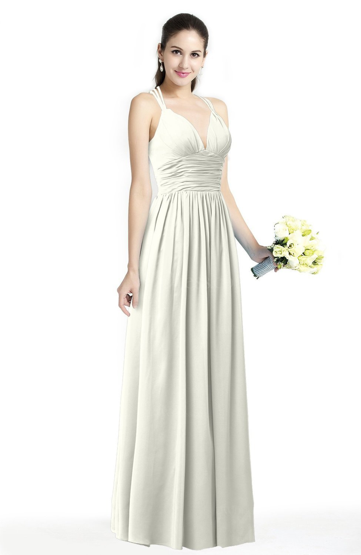 Cream simple spaghetti sleeveless chiffon sash plus size for Simple cream colored wedding dresses