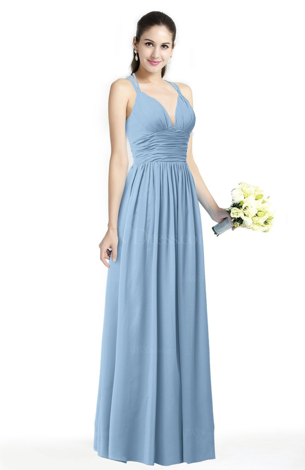 Sky Blue Simple Spaghetti Sleeveless Chiffon Sash Plus Size ...