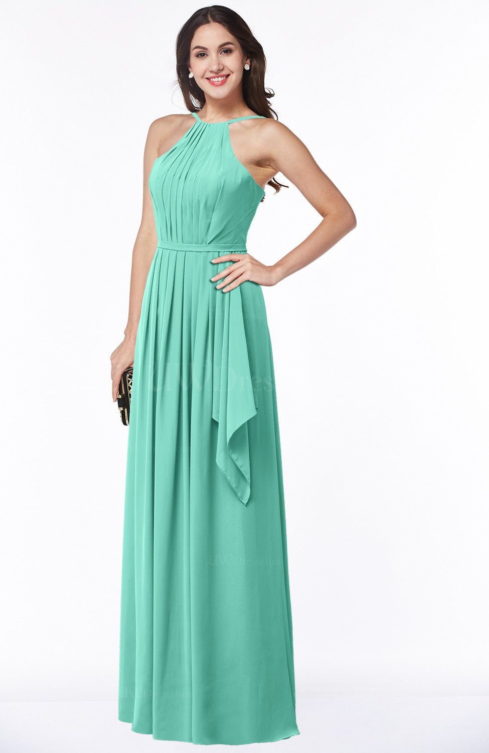 Mint Green Gorgeous A-line Spaghetti Sleeveless Zipper Ruffles Plus ...