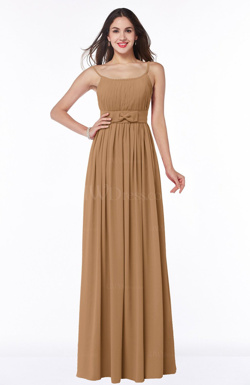 Light Brown Modern A Line Spaghetti Zip Up Floor Length Sash Plus Size Bridesmaid Dresses