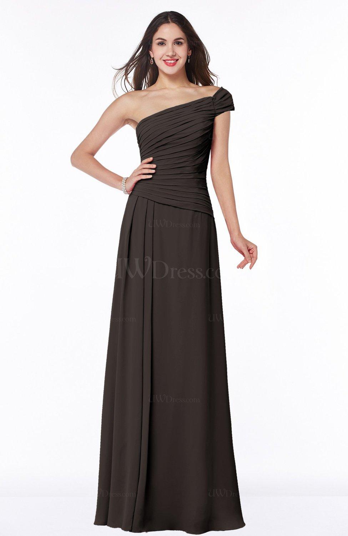 Fudge brown modern a line one shoulder sleeveless floor for Medium length wedding dresses